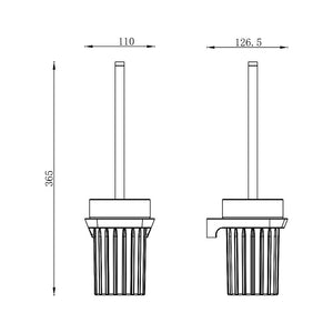Synergii Toilet Brush with Glass Holder (Line Drawing)