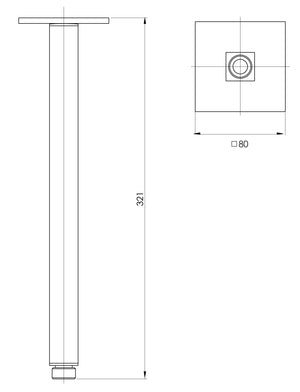 Lexi Ceiling Arm Only 300mm (Square) (Brushed Nickel) (Line Drawing)