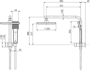 Lexi Compact Twin Shower (Chrome) (Line Drawing)
