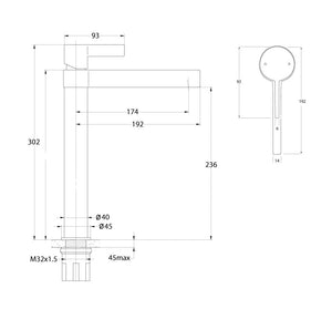 Martini Extended Basin Mixer (Line Drawing)