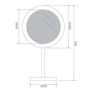 Plaza Free Standing Magnifying Mirror (Line Drawing)