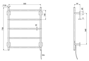 Radii Heated Towel Ladder 550 x 740mm (Square) (Line Drawing)
