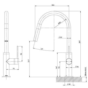Vivid Slimline Pullout Sink Mixer (Line Drawing)