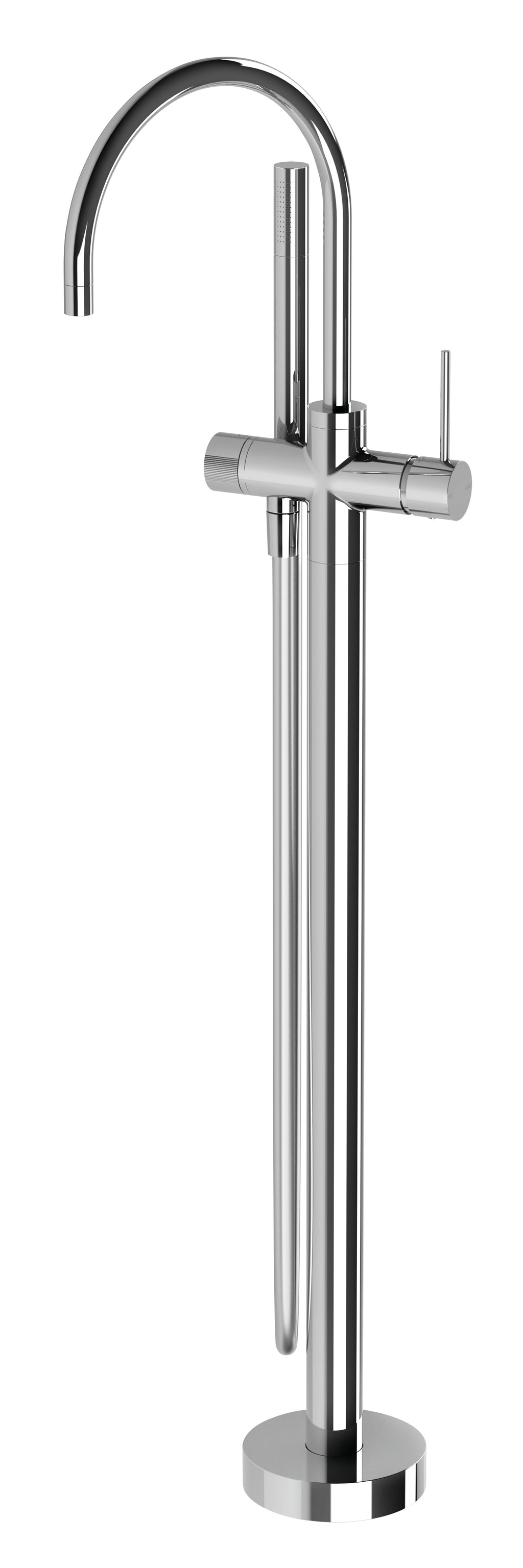 Vivid Slimline Floor Mounted Bath Mixer with Hand Shower (Chrome)
