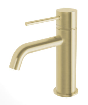 Vivid Slimline Basin Mixer Curved Outlet (Brushed Gold)