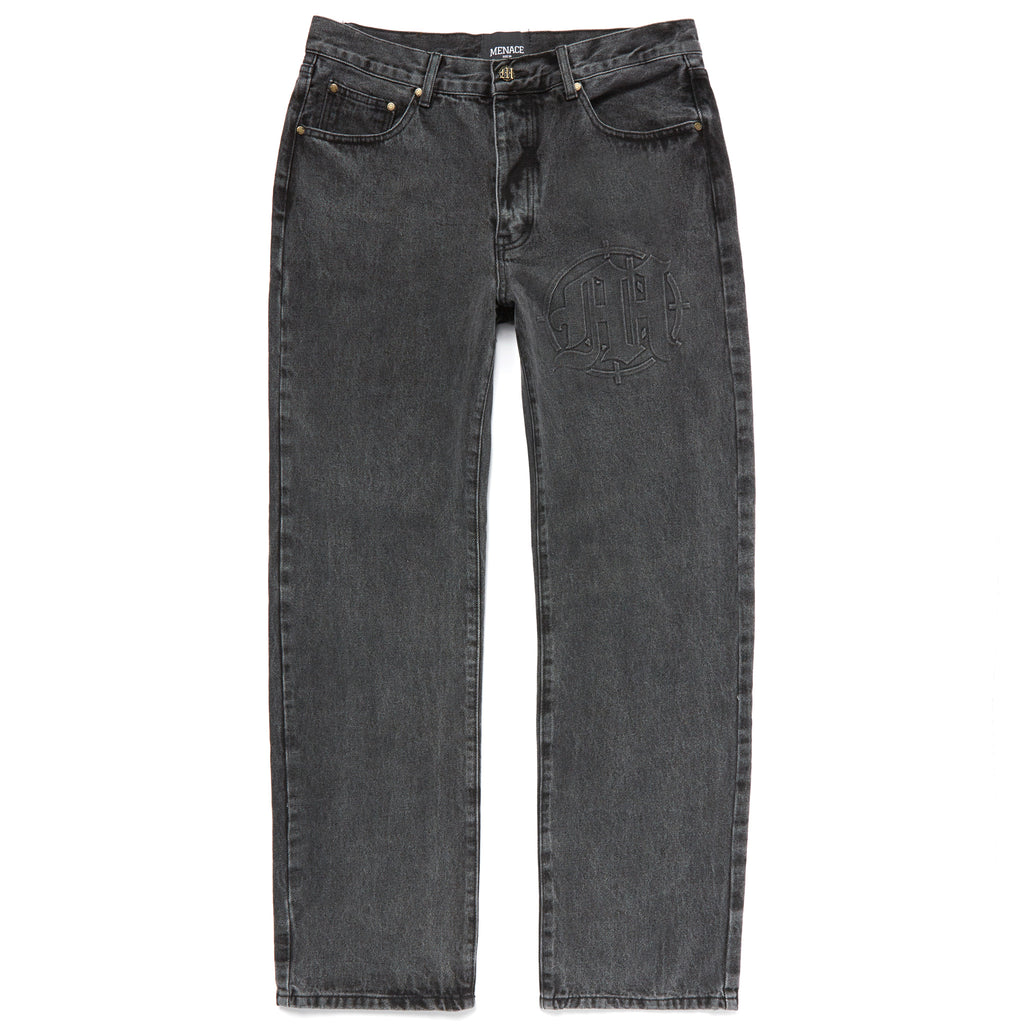EMBOSSED TARGET LOGO DENIM PANTS by MENACE