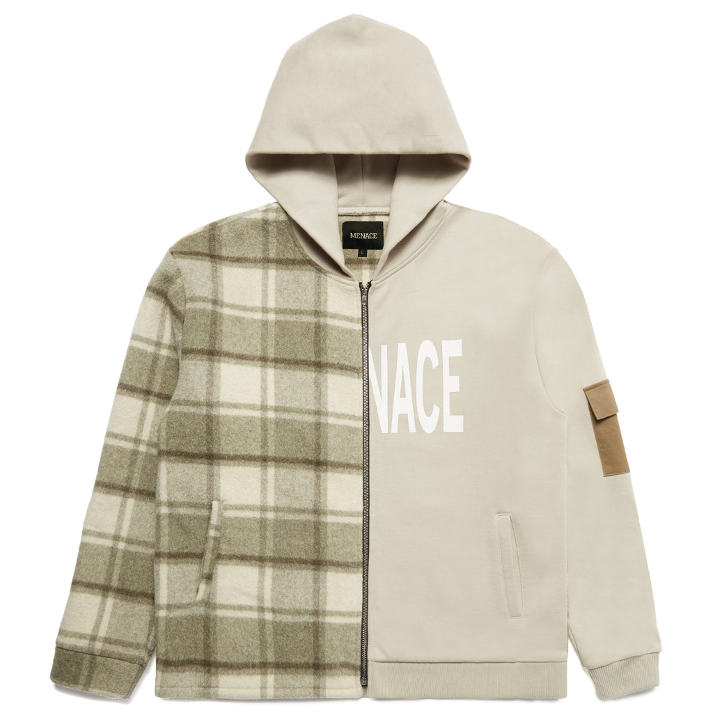 MENACE SPLIT WOOL PLAID FRENCH TERRY HOODIE by MENACE