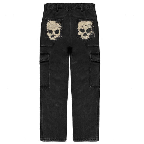 SKULL DISTRESS PANELED CARGO POCKET DENIM PANTS