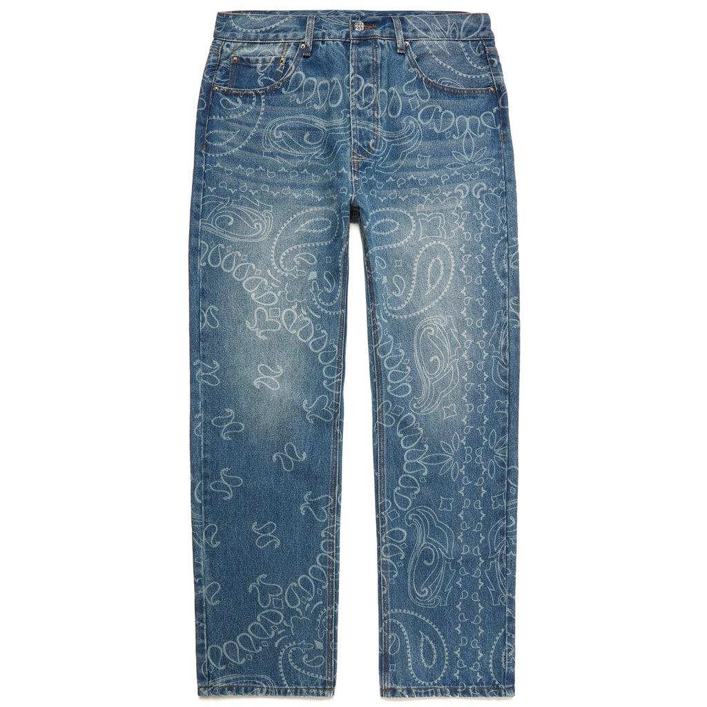 LASER ENGRAVED PAISLEY DENIM PANTS by MENACE