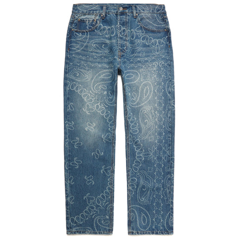 LASER ENGRAVED PAISLEY DENIM PANTS