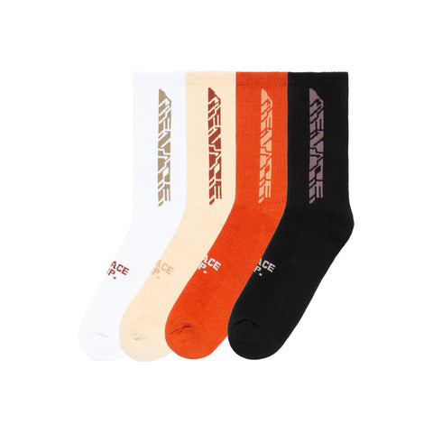 MENACE CORPORATION ASSORTED LOGO SOCKS (4 PACK)