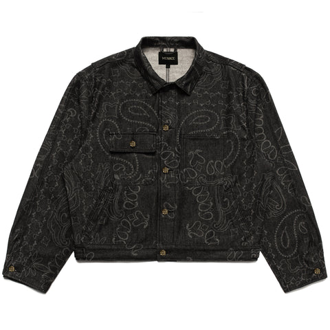 LASER ENGRAVED PAISLEY DENIM JACKET