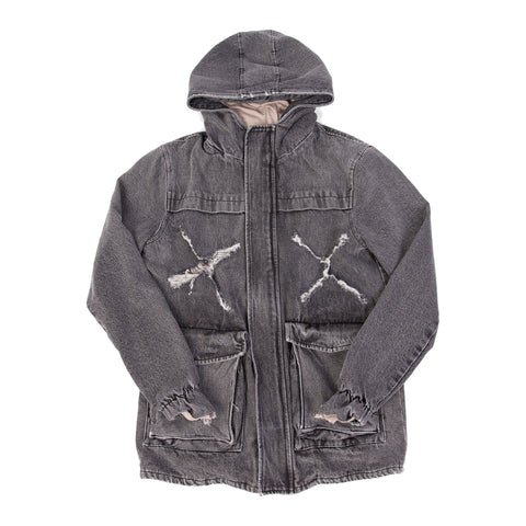 OVERSIZED STENCIL HOODED MILITARY PARKA