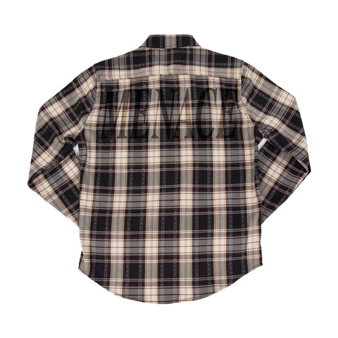 MULTI-PLAID FLANNEL BUTTON-UP