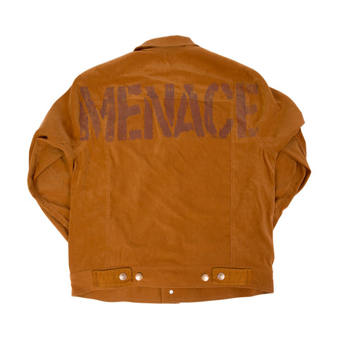 OVERSIZED STENCIL BRUSHED-TWILL JACKET