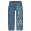 DISTRESSED STENCIL DENIM PANTS by MENACE