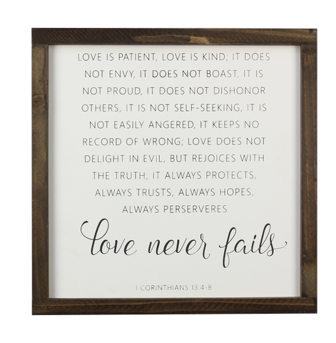 Love Never Fails Sign