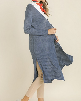 Fall Trench Cardigan- Navy