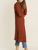 Fall Trench Cardigan- Rust