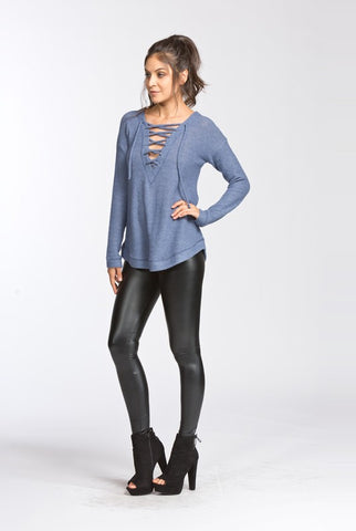 Criss Cross Your Heart Top- Blue