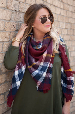 Blanket Scarf- Navy/Red