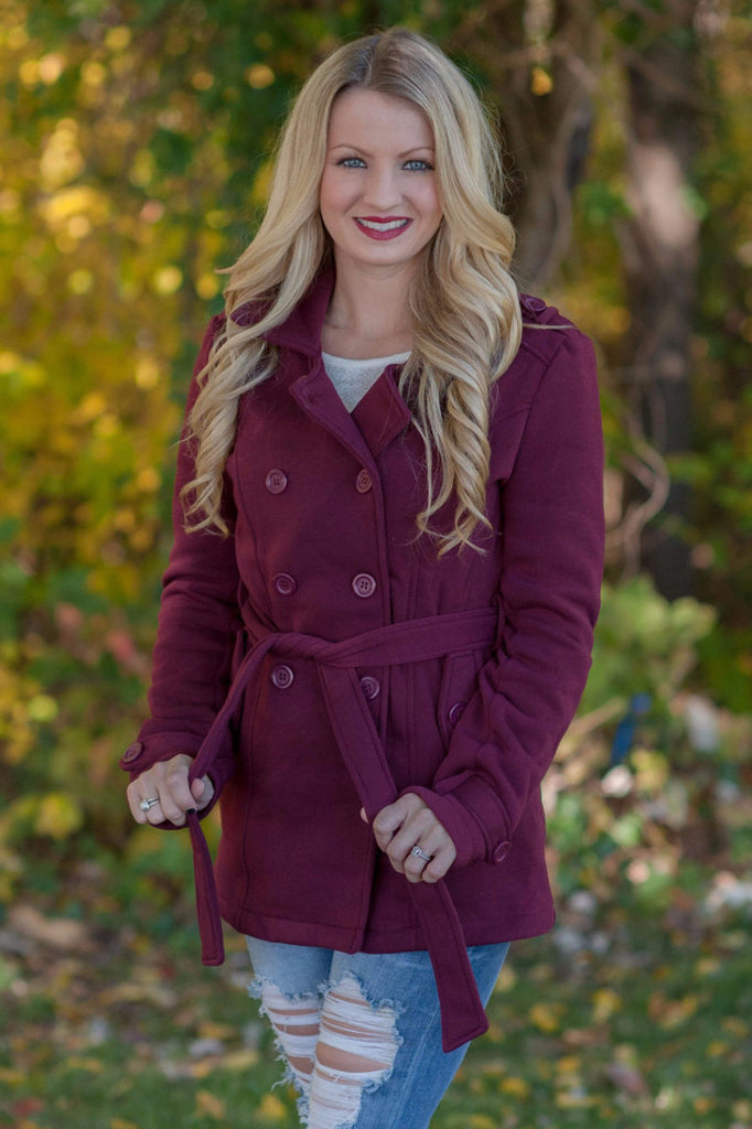 Burgundy Pea Coat - 1
