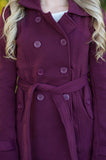 Burgundy Pea Coat - 2
