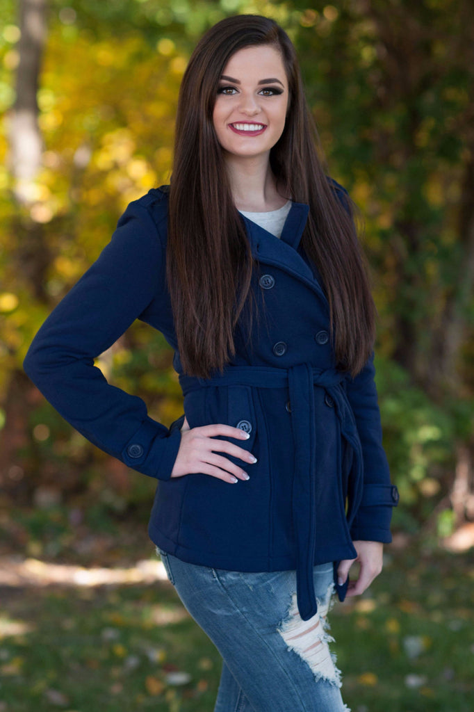 Navy Pea Coat - 1