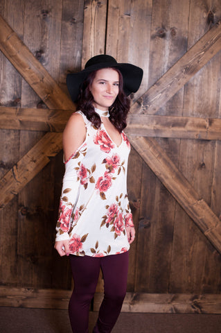 Cold Shoulder Floral Top- Cream