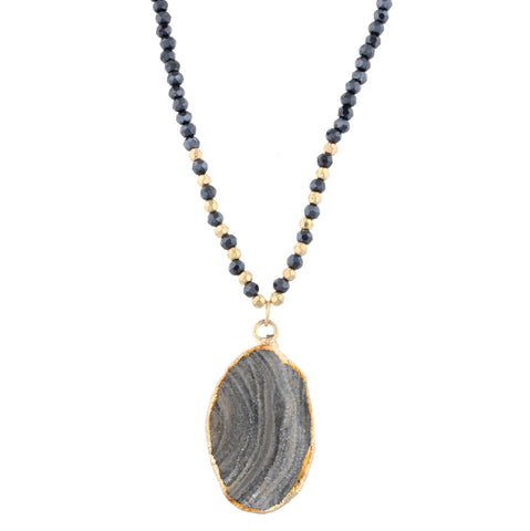 Wrapped Beaded Necklace- Grey