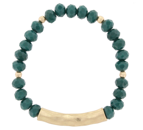 Beaded Hammered Bracelet- Green