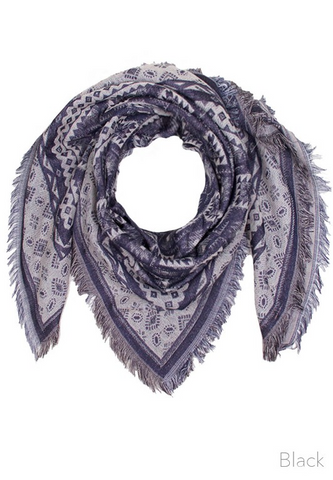 Aquare Multi Pattern Scarf- Black