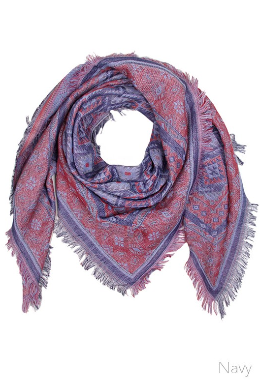 Aquare Multi Pattern Scarf- Navy