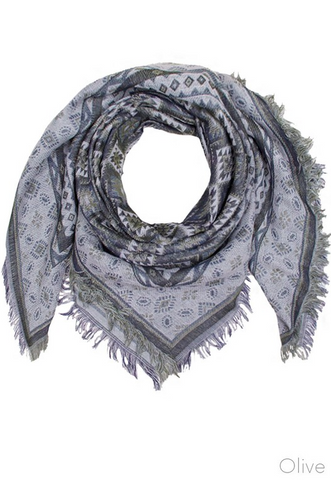 Aquare Multi Pattern Scarf- Olive