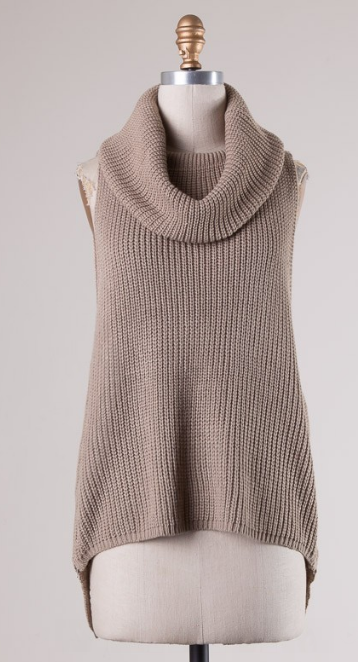 Cow Neck Sweater Top- Mocha