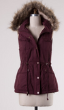 BEST SELLING Fur Vest- Burgundy