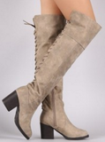 Over The Knee Boots- Taupe - 2