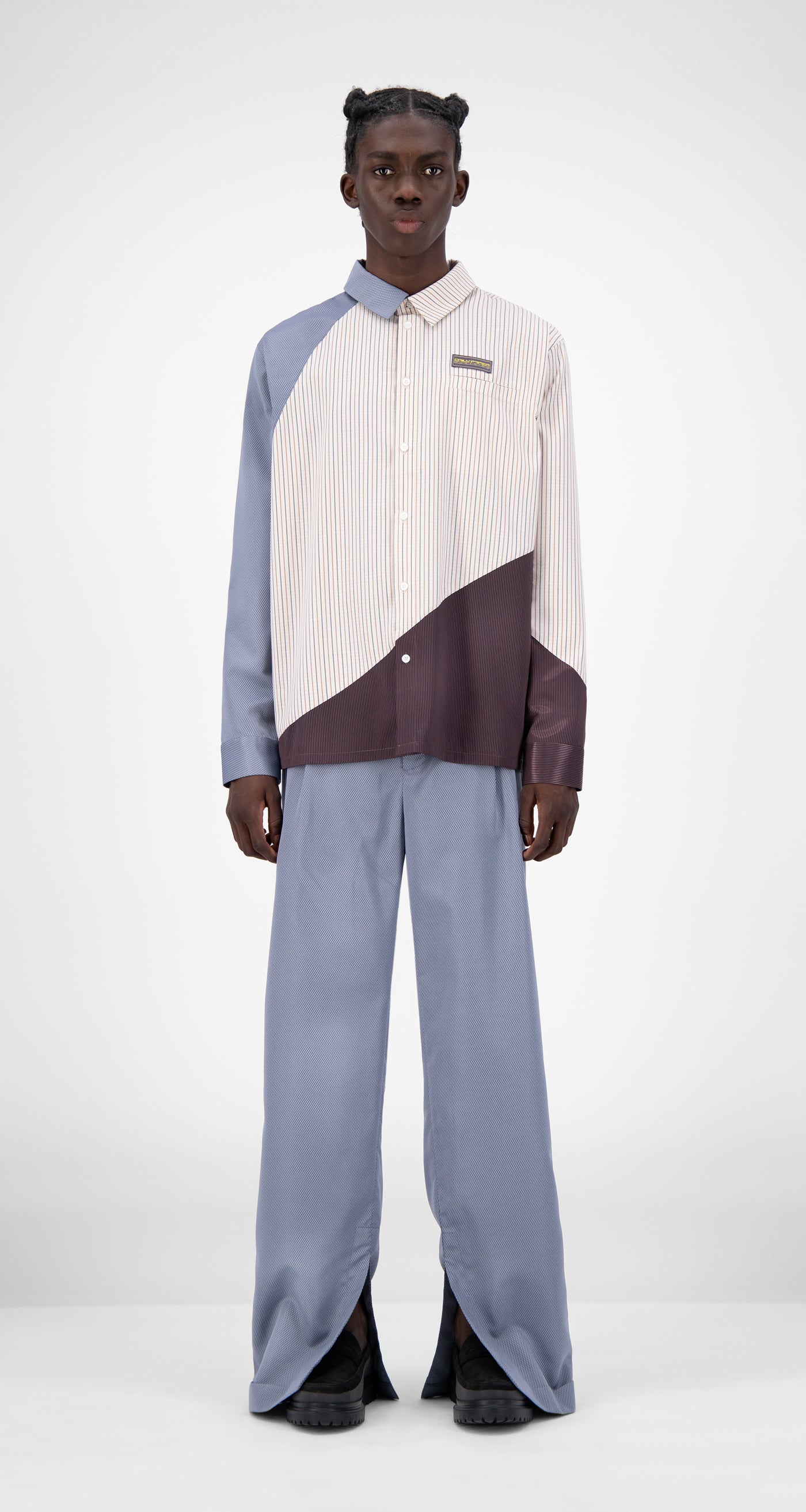 Daily Paper - Beige Striped Jadee Shirt - Men Front