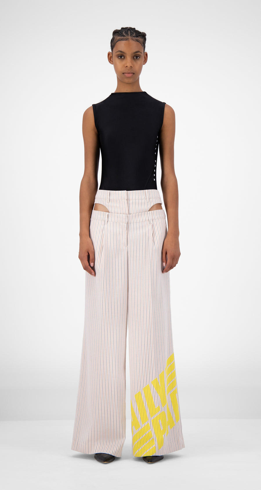 Daily Paper - Beige Striped Jehaan Pants - Women Front