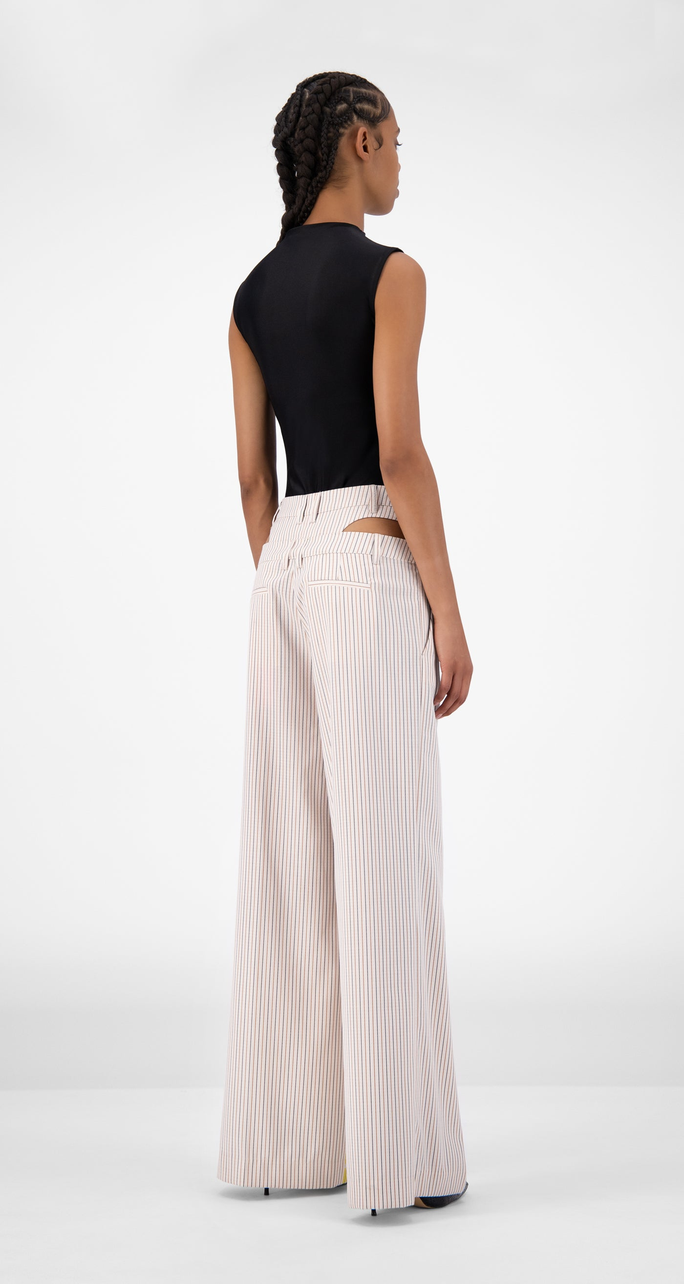 Daily Paper - Beige Striped Jehaan Pants - Women Rear
