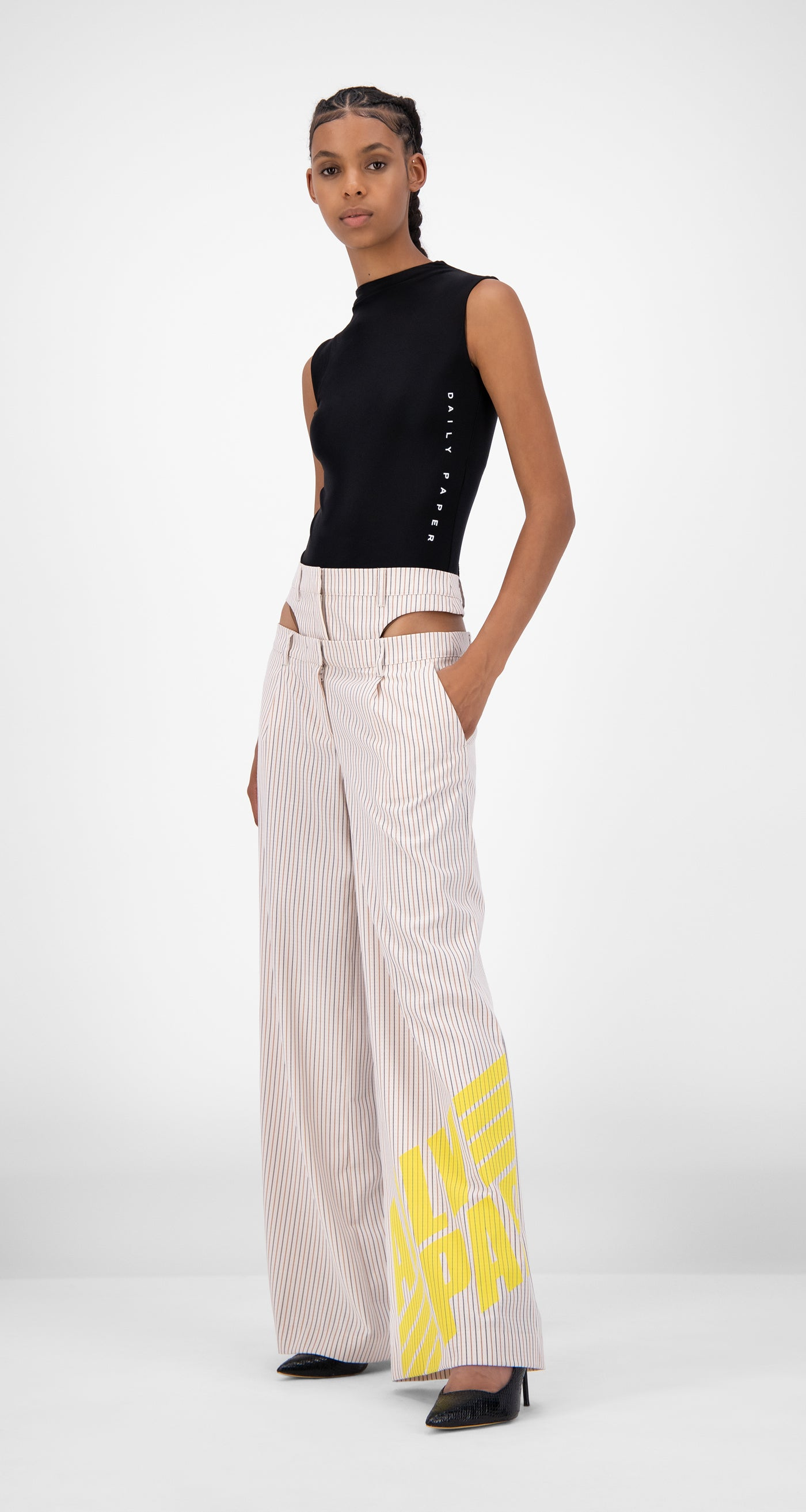 Daily Paper - Beige Striped Jehaan Pants - Women