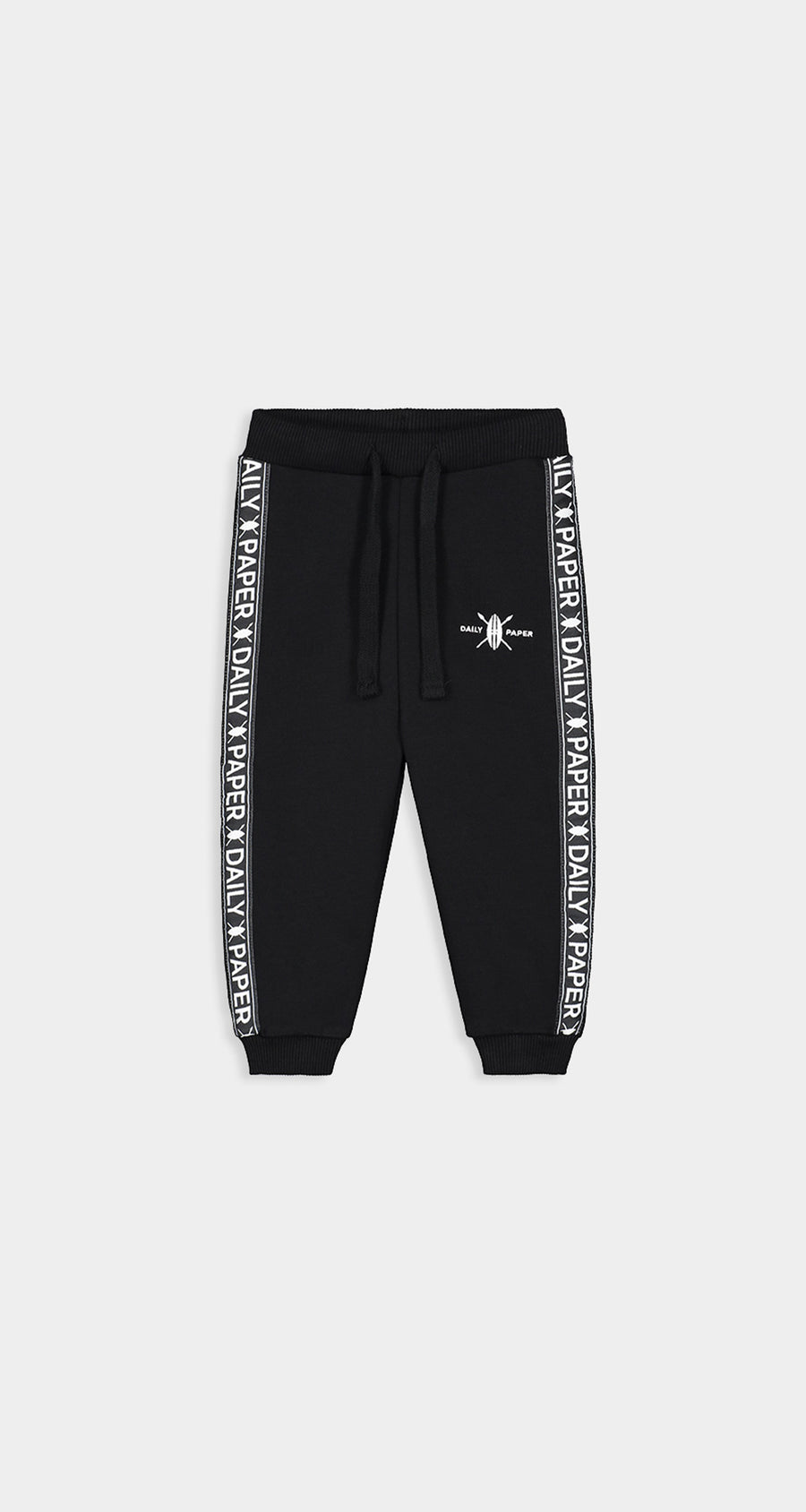 Daily Paper - Black Kids Tape Logo Track Pants - Front