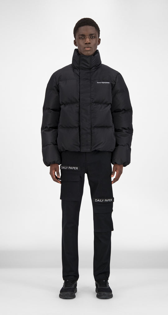 Daily Paper - Black Puffer Jacket Men Front