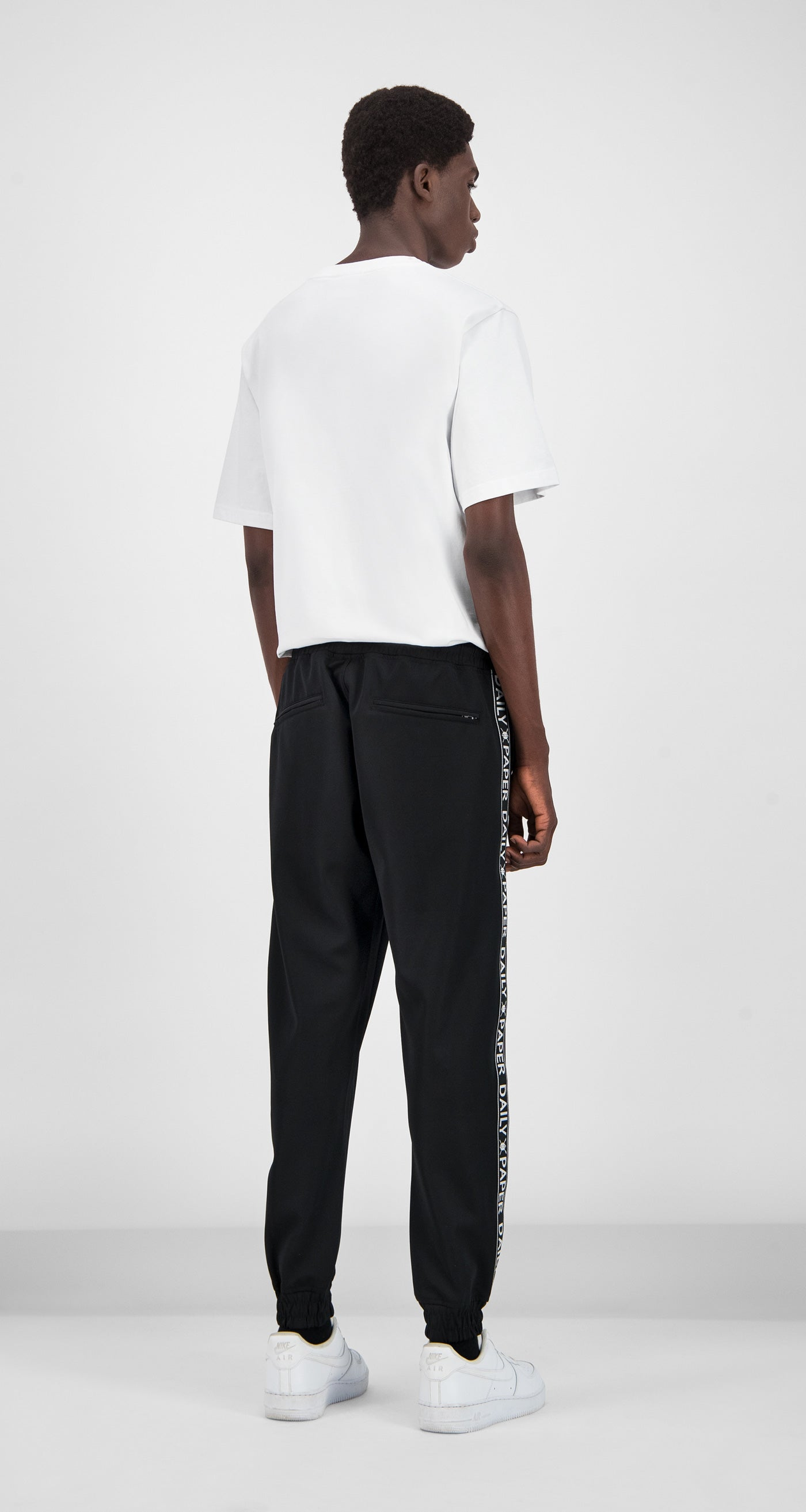 Daily Paper - Black Tape Logo Track Pants Men Rear