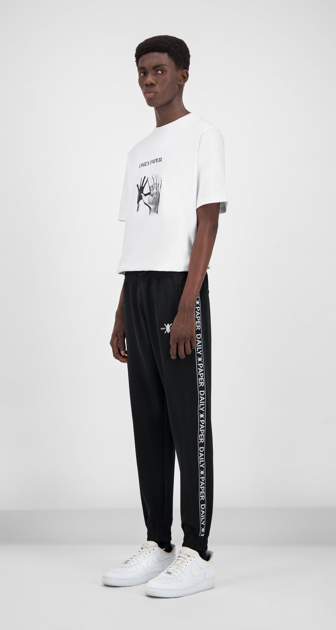 Daily Paper - Black Tape Logo Track Pants Men Front