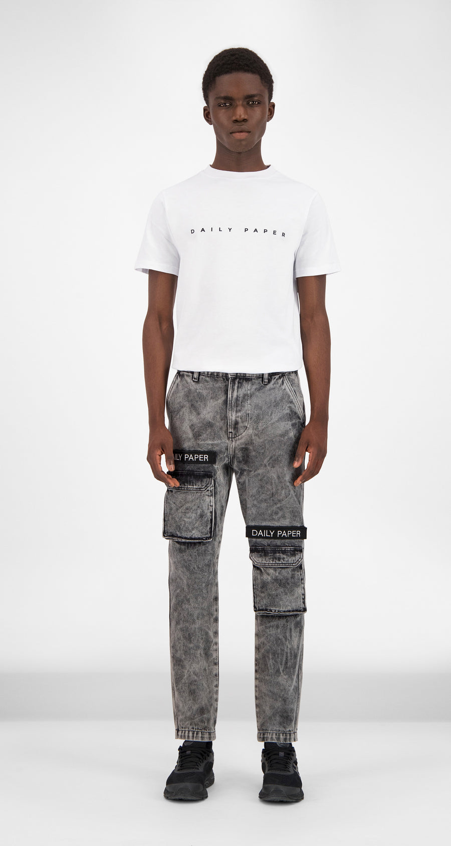 Black Washed Denim Cargo Pants - Men Front