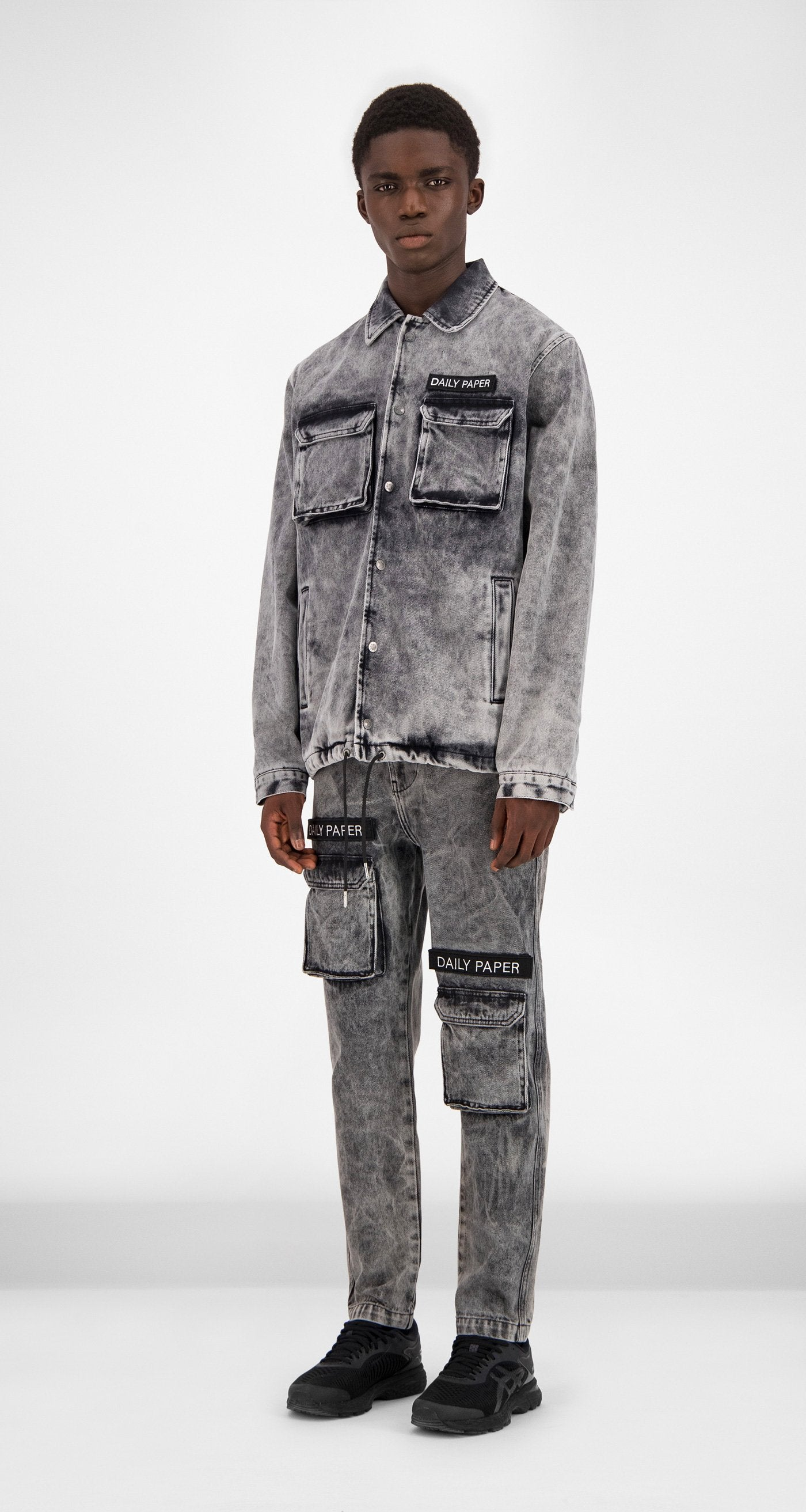 Black Washed Denim Coach Jacket - Men