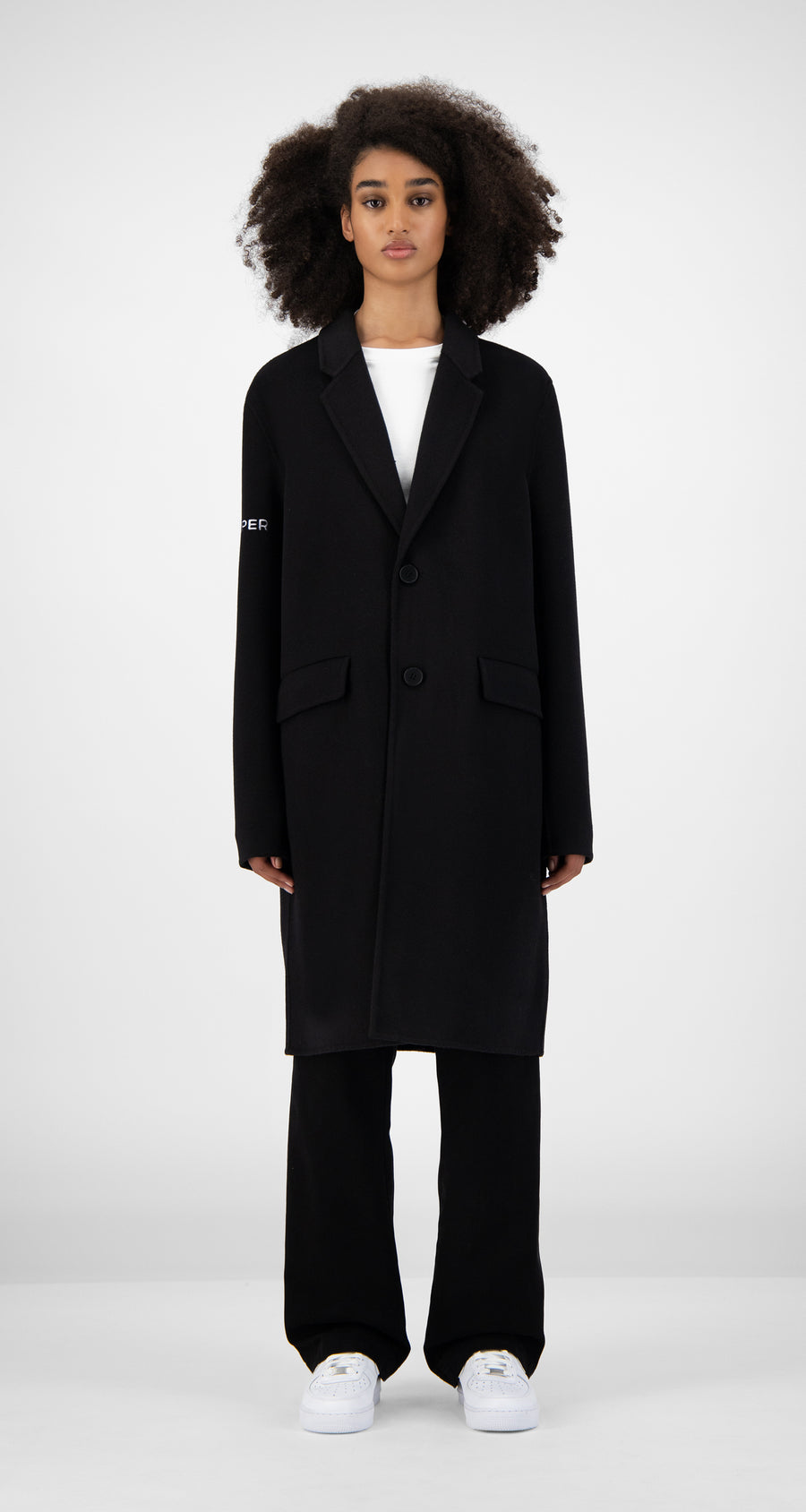 Daily Paper - Black Wool Captain Coat Women Front
