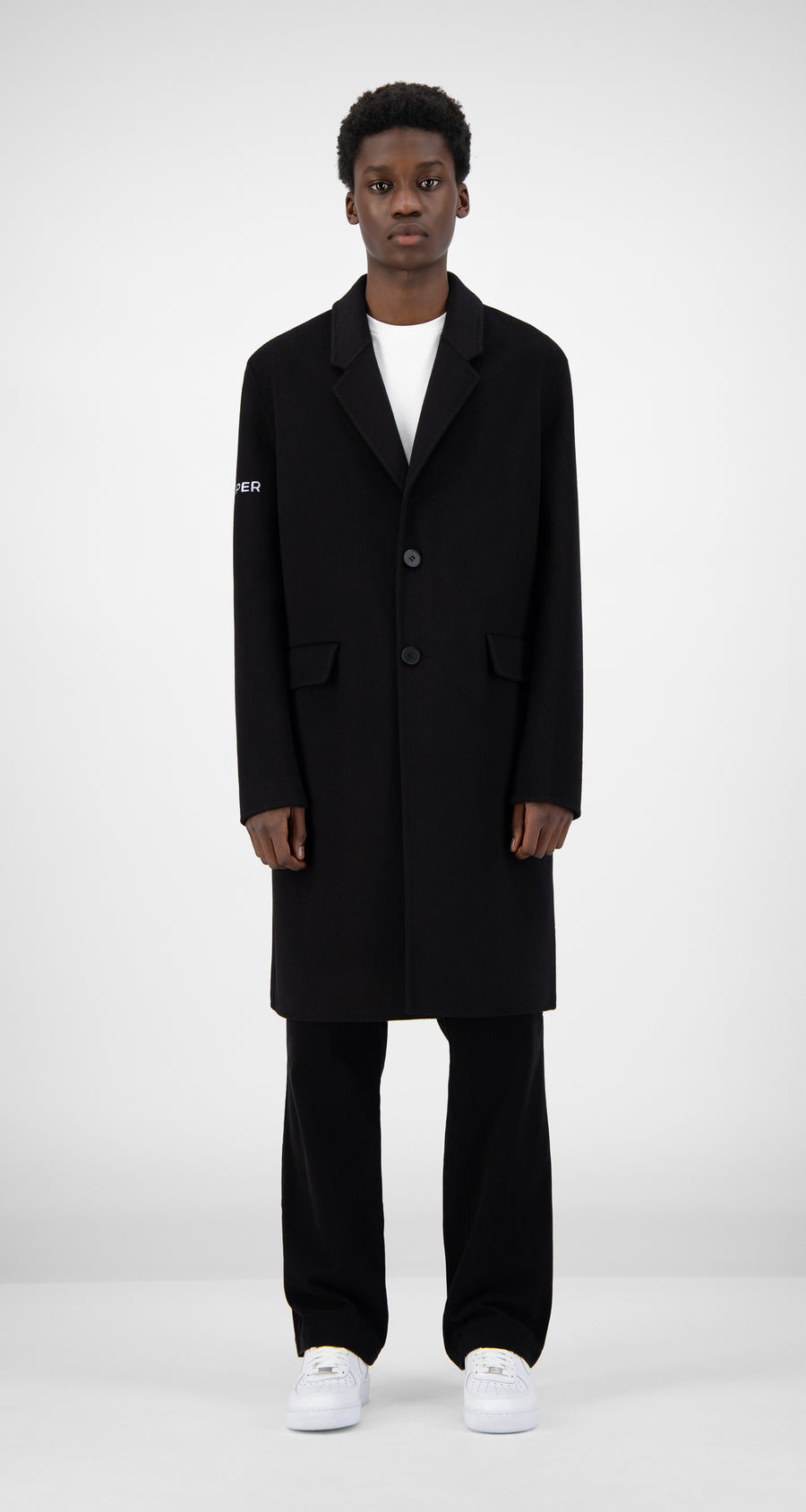 Daily Paper - Black Wool Captain Coat Men Rear