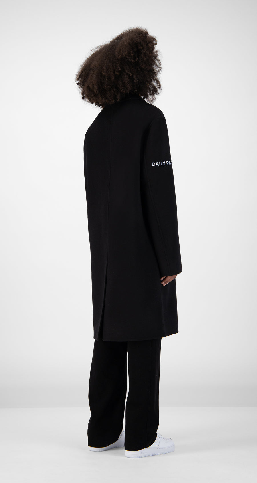 Daily Paper - Black Wool Captain Coat Women Rear